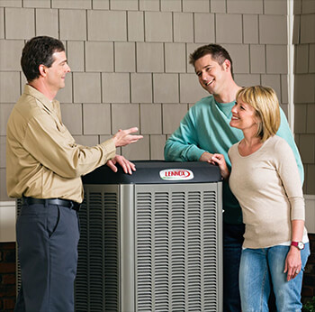 Customers and Technician talking